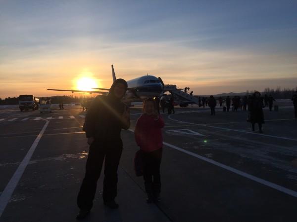 到哈尔滨机场,下午3:40左右就到漠河机场了