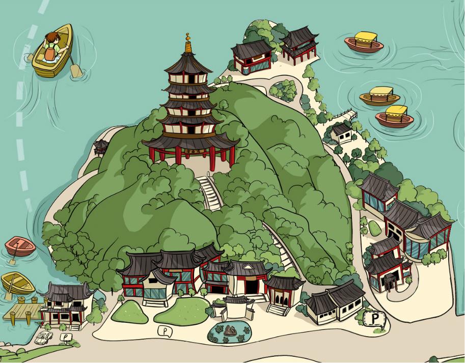 杭州旅游手绘地图