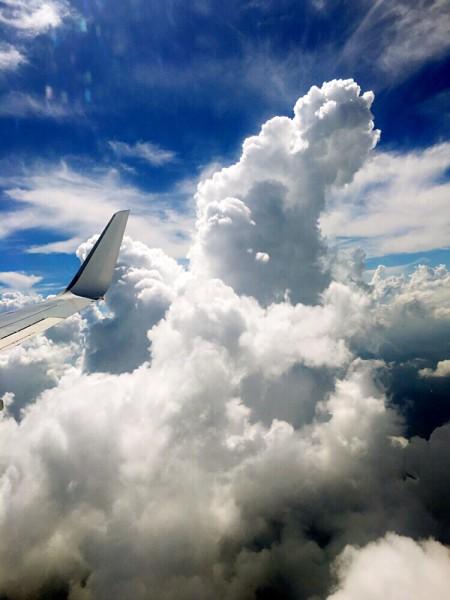 漂亮的小翼划破突兀可爱的云朵